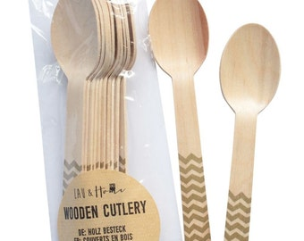 Disposable Wooden Spoons Tableware for Party - Chevron / Zig Zag