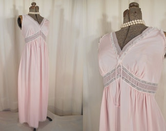 Vintage Nightgown - 1960s Pink Satin Lingerie Nightgown, 60s Empire Waist Maxi Dressing Gown
