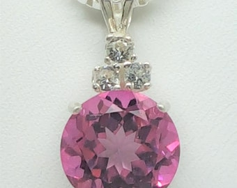 4.75ctw Pink Topaz & White Sapphire 10mm Sterling Silver Necklace