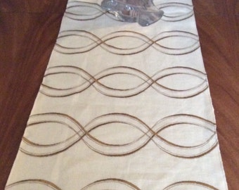 Linen and silk embroidered table runner