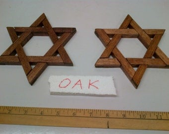 Jewish Star Magen David - Star of David 6 Inch Wooden Oak