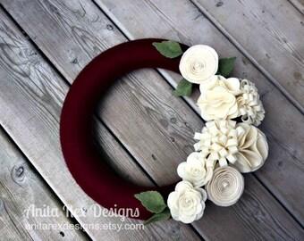 Yarn Christmas Wreath, Ruby Burgundy Yarn Wreath, Ivory Felt Flowers