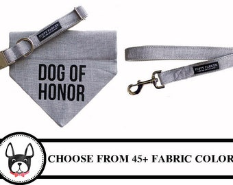 Dog OF Honor Bandana With Matching Collar - Choose Your Color - 45 Colors Available  - Wedding Dog
