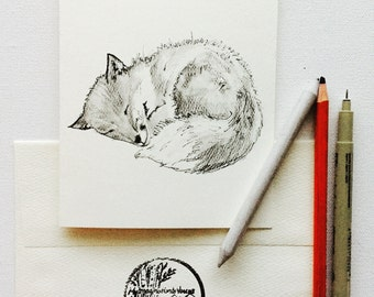 7x5 Framable Real Hand Drawn Fox Card-sleeping baby fox woodland forest minimalistic art