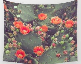 Cactus wall tapestry, cactus wall hanging, cactus photography, bohemian, orange, festival, boho decor, southwestern decor, western, green