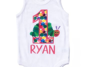 The Very Hungry Little Caterpillar Personaized Name Number Birthday Shirt Tank Top or Bodysuit Outfit