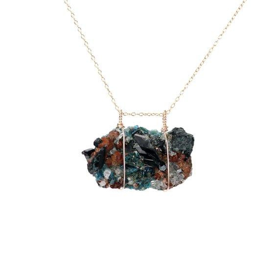 Mineral necklace - lazulite necklace - quartz matrix - raw crystal necklace - druzy necklace - 14k gold filled chain