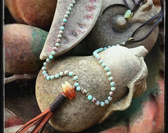 Hand-knotted Gemstone Beaded Necklace with Hand Wrapped Tassel, Snakeskin Jasper, Deer Lace Leather, Serpentine, and Brass Accents