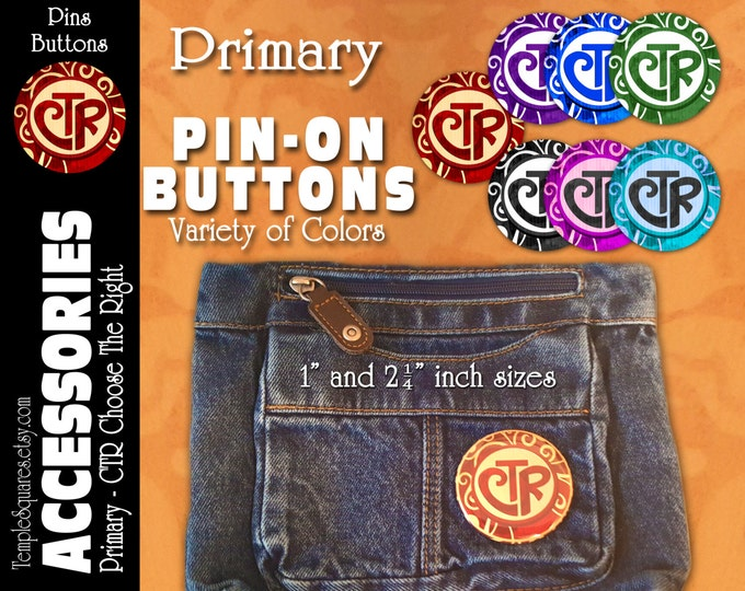 Primary CTR Choose The Right Pin-On Buttons 2017 Theme Birthday, Christmas, Missionary, Children, YW Youth Backpack Scripture Bag Pins