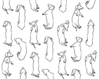 Lots of Sleepy Dachshunds Art Print. Illustrations of my pet dachshund's sleeping postions in black on white