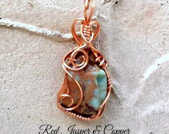 Red Jasper Copper Pendant | Red Jasper | Copper Pendant | Copper Necklace | Red Jasper Necklace | Red Jasper Pendant