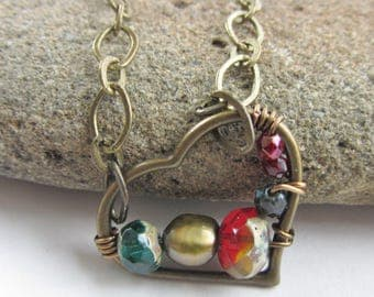 Jewel Tone Beaded Pearl Heart Necklace, Olive Green Pearl, Red Green Navy Necklace, Dark Boho