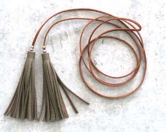 Long Tassel Necklace, Leather Wrap Necklace, Leather Lariat Jewellery, Gift for Her