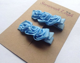 Blue rose ribbon flower girls grosgrain hair clips