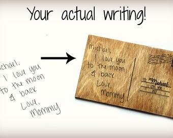 Custom Engraved Wooden Postcard Customized With Your Actual Writing