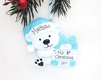 Little Blue Bear Personalized Christmas Ornament / First Christmas / 2nd Christmas / Baby Boy / Toddler / Child
