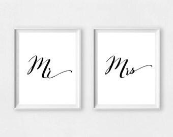 Mr Mrs wall prints, mr and mrs wall art, mr and mrs wall sign, mr and mrs prints, mr and mrs print, newlyweds print, mr right, mr mrs wall