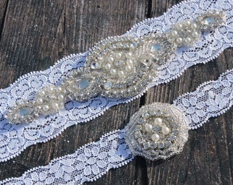 Gorgeous Wedding Garter Set - Vintage White Lace Garter with Rhinestone and Pearl Bridal Garter Set - Crystal Applique - Garter Toss - Keeps