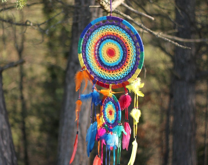 N49- Rainbow Crochet Dream Catcher