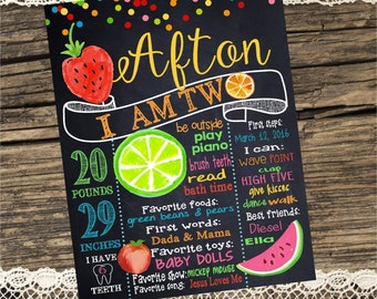 FIRST BIRTHDAY CHALKBOARD, Tutti Frutti, Two-ti Fruity, Fruit, Twotii Watermelon, 16 x 20 printable digital  prop, First Birthday Sign
