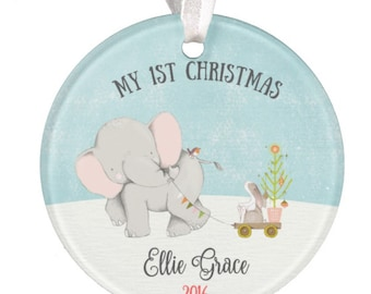 Baby Ornament, Personalized Christmas Ornament, Baby Gift, Personalized Baby Gift, Christmas Ornament, Ceramic Ornament, RyElle, Elephant