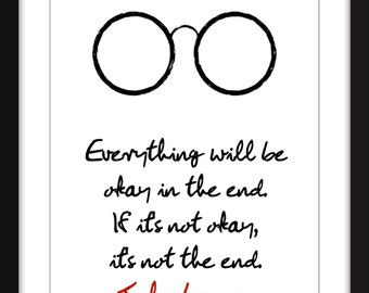 John Lennon Everything Will Be Okay Quote Unframed Print