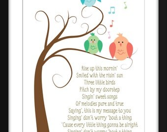 Bob Marley Three Little Birds Lyrics Print Perfect for Child's Bedroom, Bob Marley for Kids, Reggae Print, Kids Decor