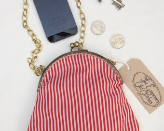 Red and White Candy Cane Handbag stripy stripes pinstripe chain crossbody shoulder purse bag cute small by The Emperor's Old Clothes