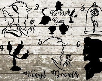 Beauty and the Beast Vinyl Decal Sticker - Belle - Lumiere - Featherduster - Mrs Potts - Chip - Cogsworth - Gaston - Enchanted Rose - Candle