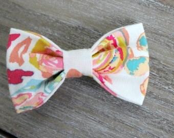 Cotton Knit tuxedo bow, floral print tuxedo headband, tuxedo bow headband, teal white and coral tuxedo bow headband, baby nylon headband