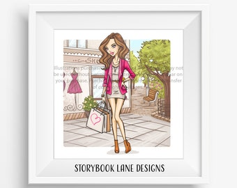 Fashion Art Print - I love Shopping- Long hair, Brunette