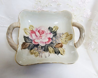 Dominies Collection Hand Painted Bowl/Tray, Pink Roses