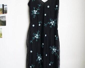 Black embroidered vintage slip dress