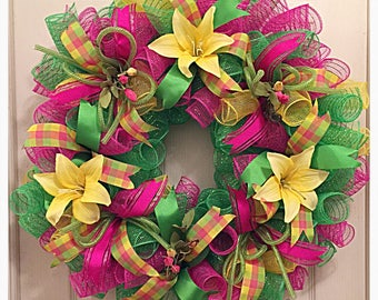Yellow Lily Deco Mesh Wreath/Pink, Lime and Yellow Wreath/Yellow Lily Wreath/Mothers Day Wreath
