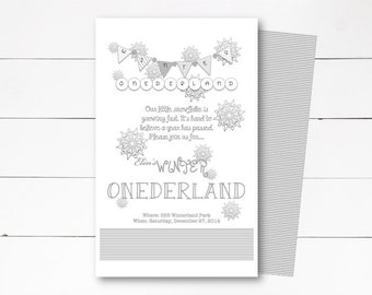 Winter Onederland Invitation, 1st Birthday Invitation, Winder Wonderland Invitation, Birthday Party, Onederland Party, DIY or Printed Invite