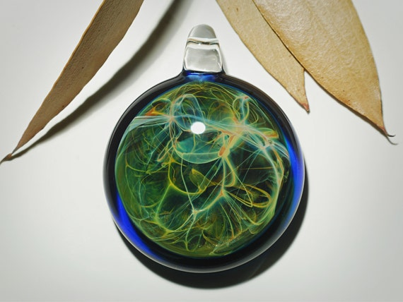 Emerald Ocean Pendant - Blown Glass Jewelry - Universe - Flameworked Focal Bead - Free Shipping - Artist Direct - Vibrant and glossy smooth!
