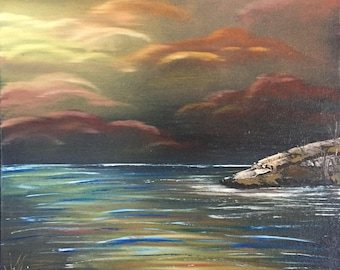 Sunset Over the Ocean Original Oil Painting on stretched canvas