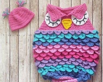 Handmade Crochet Newborn Owl Sleep Sack in Pink, Purple, Blue, and Teal