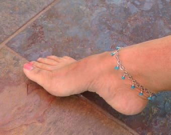 Turquoise Anklet - Beach Bride - Sleeping Beauty Turquoise anklet - Beaded anklet - body jewelry - Turquoise jewelry - Ankle Beauty