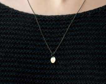 SALE !! BLOSSOM mini - Chain made of black sterling silver with small pendant from 8 karat gold