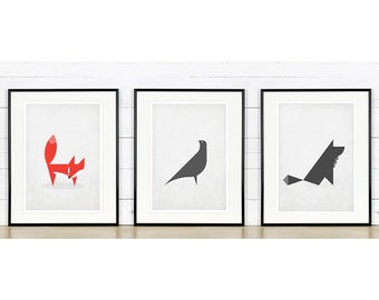 Scandinavian posters, Nordic animals, Scandinavian style, wall decor, vintage art print, minimalist art print, minimalist design decor