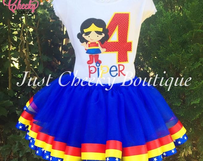 Wonder Woman Birthday Outfit -Wonder Woman Birthday Shirt -DC Superhero Girls Birthday -Supergirl Party-Girls Birthday Shirt -Superhero Tutu