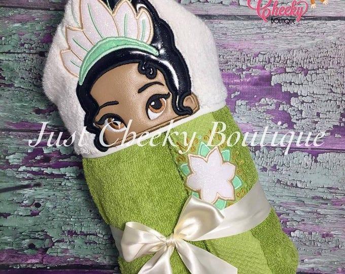 Frog Princess Inspired Hooded Towel - Tiana  - Disney Birthday - Disney Princess