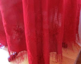 Piano Scarf Silk|  Ruby Red Piano Shawl _ Victorian Piano scarf