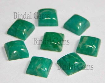 10 Pieces Amazing Lot Natural Amazonite Square Shape Smooth Polished Gemstone Cabochon