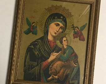 Vintage Framed Religious Icon Our Lady of Perpetual Help Old World Catholic Christian Wall Art Wall Hanging