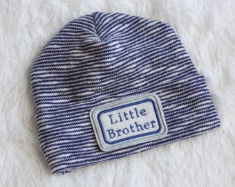 Newborn Hospital Hat. Little Brother Hospital Beanie. Blue Newborn Hat. Personalized Newborn Hat.