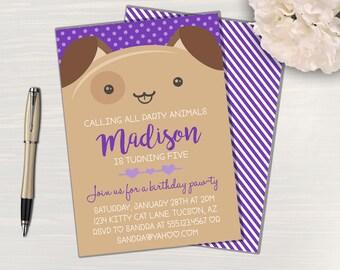 Puppy Dog Birthday Paw-ty  Invitation // Puppy Birthday // Dog Birthday // Digital // Printed