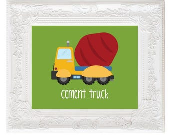 Construction Cement Truck Nursery Print, Truck sign, construction vehicle decor, kids printables construction posters playroom DIGITAL FILES