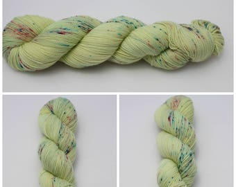 Twist Sock - Hand dyed yarn {Limoncello} green Yellow with pink and blue speckled yarn, sock yarn, hand dyed sock yarn